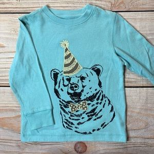 Gymboree Blue Long Sleeve party bear tee shirt